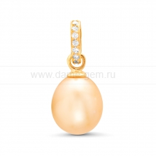 Кулон из серебра с золотистой жемчужиной. Артикул 11632