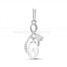 "Кулон ""Тюльпан"" из серебра с белой жемчужиной 7,5-8 мм. Артикул 11634"