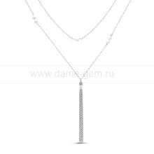 Колье из серебра с белыми речными жемчужинами 5-5,5 мм. Артикул 11638