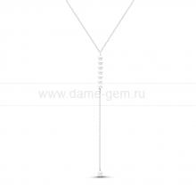 """Колье """"Нежность"""" из серебра с белыми жемчужинами 5-5,5 мм. Артикул 11639"""