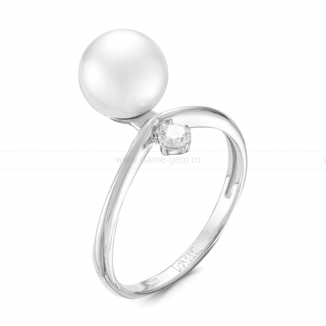 Кольцо из белого золота с белой морской жемчужиной Акойя 8,5-9 мм. Артикул 11650
