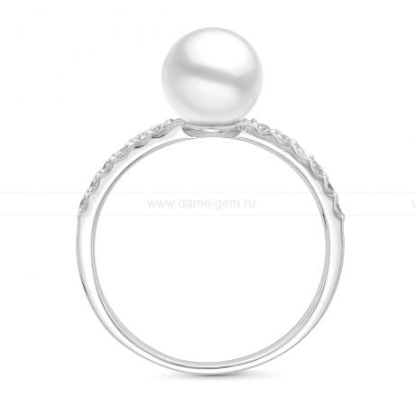 Кольцо из белого золота с белой морской жемчужиной Акойя 7,5-8 мм. Артикул 11652