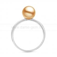 Кольцо из золота с золотистой жемчужиной Акойя. Артикул 11653