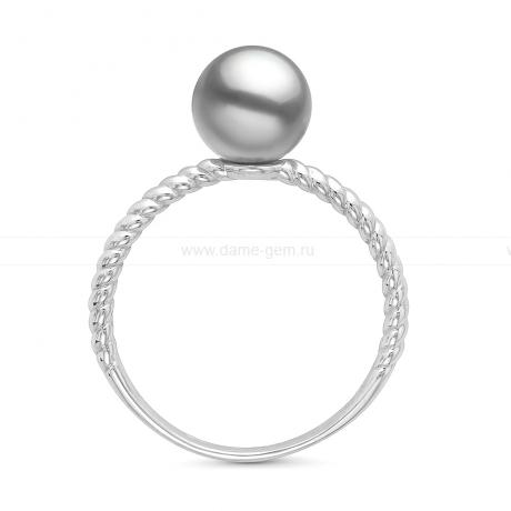 Кольцо из золота с серебристой жемчужиной Акойя 7,5-8 мм. Артикул 11654