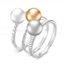 "Кольцо ""Трио"" с морскими жемчужинами Акойя. Артикул 11655"