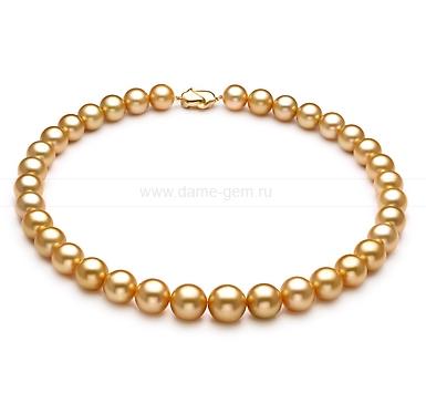 Ожерелье из золотистого морского Австралийского жемчуга 12,1-16,3 мм. Артикул 11673