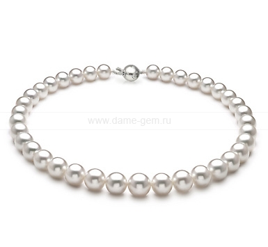 Ожерелье из белого морского Австралийского жемчуга 10-12,4 мм. Артикул 11682