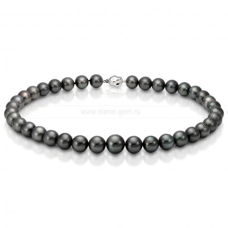 Ожерелье из черного круглого морского Таитянского жемчуга 14-17,5 мм. Артикул 11687