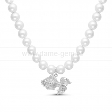 "Ожерелье ""Рыбка"" из барочного речного жемчуга. Артикул 11690"
