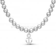 """Детское ожерелье """"Морское"""" из серебристого речного жемчуга 5,5-6 мм. Артикул 11693"""