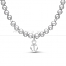 "Ожерелье ""Морское"" из круглого речного жемчуга. Артикул 11693"