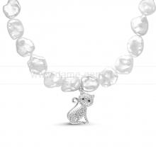 """Ожерелье """"Кошечка"""" из барочного речного жемчуга. Артикул 11696"""