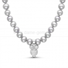 """Детское ожерелье """"Совенок"""" из серебристого речного жемчуга 5-5,5 мм. Артикул 11697"""