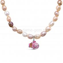 """Ожерелье """"микс"""" из речного жемчуга с кулоном """"Рыбка Немо"""". Артикул 11698"""