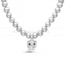 """Детское ожерелье """"Сова"""" из серебристого речного жемчуга 5-5,5 мм. Артикул 11699"""