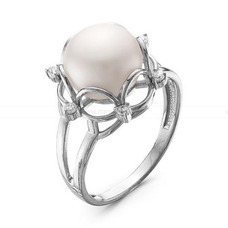 Кольцо из серебра с белой речной жемчужиной 9,5-10 мм. Артикул 11724