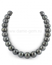 Ожерелье из черного круглого морского Таитянского жемчуга 13-15 мм. Артикул 11725