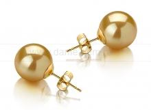 Пусеты из золота с золотистыми Австралийскими жемчужинами 12,6-12,9 мм. Артикул 11739