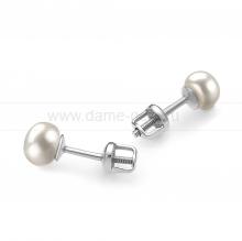 Пусеты из серебра с белыми жемчужинами 7-7,5 мм. Артикул 11741