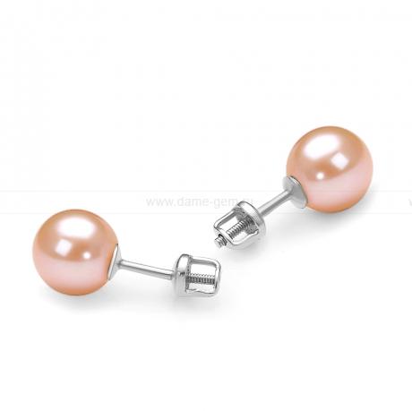 Пусеты из серебра с розовыми жемчужинами 8,5-9 мм. Артикул 11749