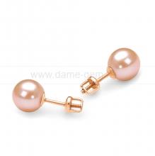 Пусеты из серебра с розовыми жемчужинами 7-7,5 мм. Артикул 11753