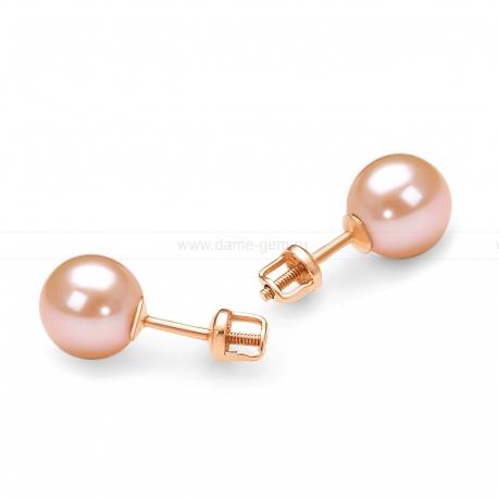 Пусеты на серебре с розовым жемчугом. Артикул 11753
