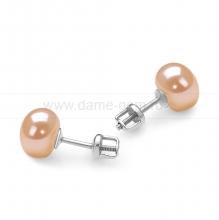 Пусеты из серебра с розовыми жемчужинами 8,5-9 мм. Артикул 11756
