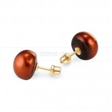 Пусеты на серебре с шоколадным жемчугом. Артикул 11776