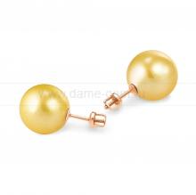 Пусеты из серебра с золотистыми жемчужинами 10-10,5 мм. Артикул 11778