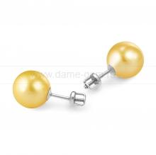 Пусеты из серебра с золотистыми жемчужинами 7-7,5 мм. Артикул 11781