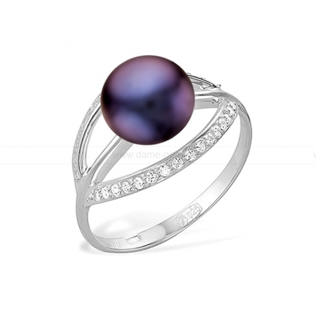 Кольцо из серебра с черной речной жемчужиной. Артикул 11783