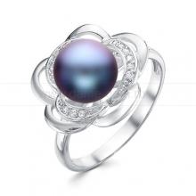 Кольцо из серебра с черной жемчужиной 8,5-9 мм. Артикул 11784
