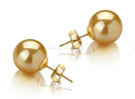 Пусеты из золота с золотистыми Австралийскими жемчужинами 11-11,5 мм. Артикул 11785