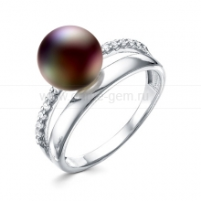 Кольцо из серебра с черной жемчужиной 9,5-10 мм. Артикул 11786
