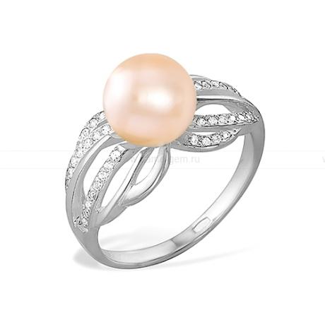 Кольцо из серебра с розовой жемчужиной 9,5-10 мм. Артикул 11789