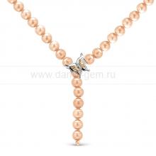 "Ожерелье ""Галстук"" из розового круглого речного жемчуга 8-8,5 мм. Артикул 11791"