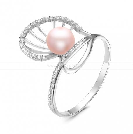 Кольцо из серебра с розовой жемчужиной 7-7,5 мм. Артикул 11792