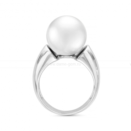 Кольцо с белой японской пресноводной жемчужиной. Артикул 11798