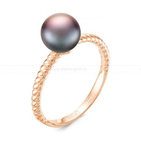 Кольцо из серебра с черной жемчужиной 7-7,5 мм. Артикул 11804