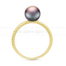 Кольцо из серебра с черной жемчужиной 7-7,5 мм. Артикул 11807