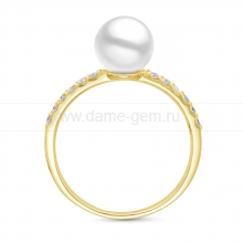 Кольцо из серебра с белой речной жемчужиной. Артикул 11808