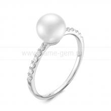 Кольцо из серебра с белой речной жемчужиной 7-7,5 мм. Артикул 11810