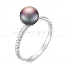 Кольцо из серебра с черной речной жемчужиной 7-7,5 мм. Артикул 11812