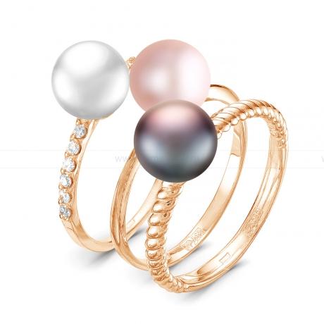Кольцо тройное из серебра с жемчужинами