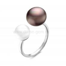 """Двойное кольцо """"Dior"""" с белой и черной жемчужинами 7-10 мм. Артикул 11864"""
