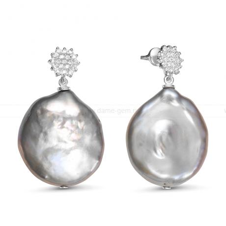 Серьги из серебра с серыми барочными жемчужинами 21-27 мм. Артикул 11868