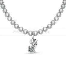 """Ожерелье """"Пони"""" из серого речного жемчуга. Артикул 11871"""