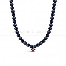 """Детское ожерелье из черного речного жемчуга 7-7,5 мм с кулоном """"Снегирь"""". Артикул 11872"""