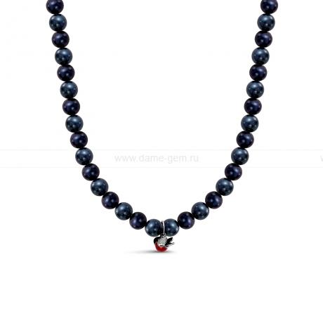 Детское ожерелье из черного речного жемчуга 7-7,5 мм с кулоном