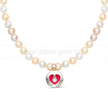 """Ожерелье """"микс"""" с кулоном из круглого речного жемчуга 6,5-7 мм. Артикул 11873"""